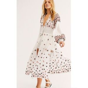 NEW Free People Mykonos Embroider Maxi Duster Top